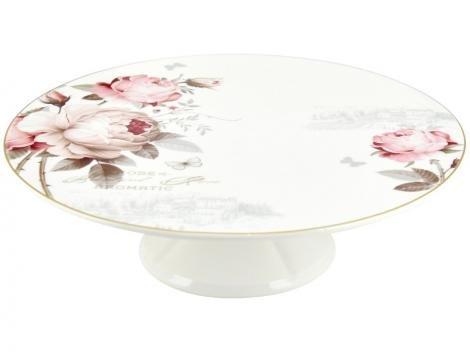 Prato para Bolo de Porcelana Redonda Casambiente - Vintage Rose TRAV012