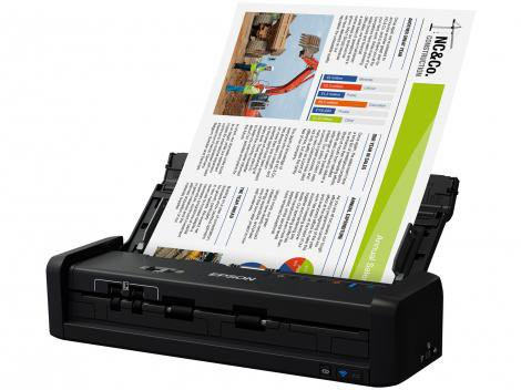 Scanner Portátil Epson WorkForce ES-300W Colorido - Wireless 600dpi Alimentador Automático
