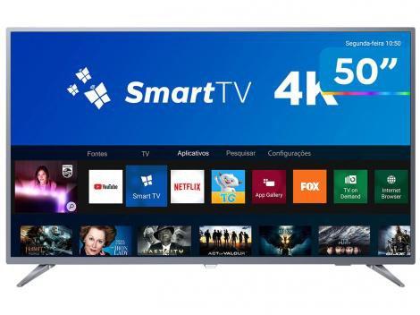 "Smart TV 4K LED 50"" Philips 50PUG6513/78 Wi-Fi - 3 HDMI 2 USB"
