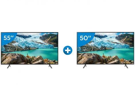 "Smart TV 4K LED 55"" Samsung UN55RU7100GXZD - Wi-Fi Conversor Digital + Smart TV 4K LED 50"""