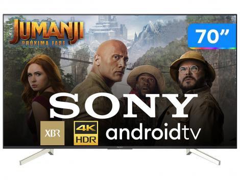 "Smart TV 4K LED 70"" Sony XBR-70X835F Android - Wi-Fi HDR Conversor Digital 4 HDMI 3 USB"