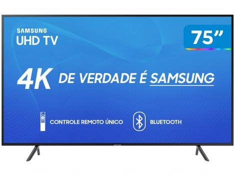 "Smart TV 4K LED 75"" Samsung UN75RU7100 Wi-Fi - HDR Conversor Digital 3 HDMI 2 USB"