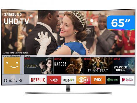 "Smart TV 4K QLED 65"" Samsung QN65Q8CAMGXZD - Curva Wi-Fi Conversor Digital 4 HDMI 3 USB"