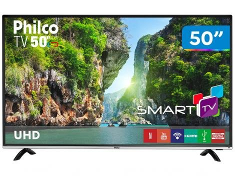 "Smart TV LED 50"" Philco 4K/Ultra HD PTV50F60SN - Conversor Digital Wi-Fi 3 HDMI 1 USB"