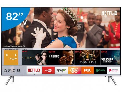 "Smart TV LED 82"" Samsung 4K/Ultra HD MU7000 - Tizen Conversor Digital 4 HDMI 3 USB DLNA"