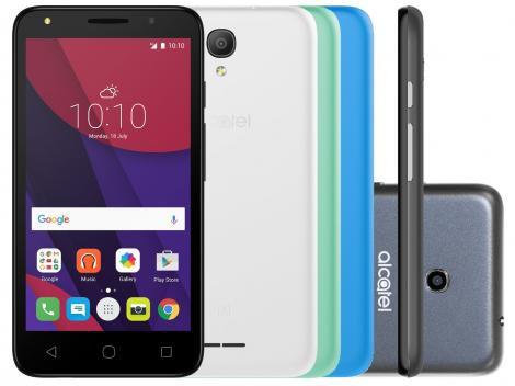 Smartphone Alcatel PIXI4 5 Colors 8GB Preto - Dual Chip 3G Câm. 8MP + Selfie 8MP Cartão 8GB