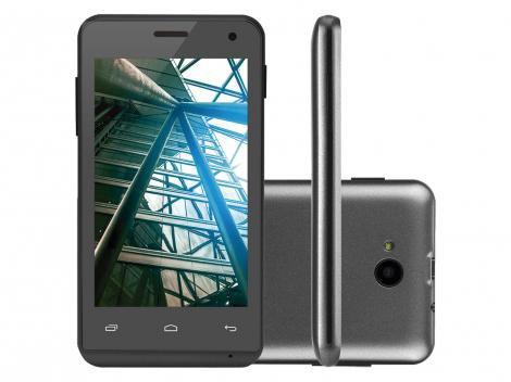 """Smartphone Multilaser MS40 Cor Preta   Tela 4""""   Câmera 2 MP + 5 MP   3G   Quad Core   4GB   Android 4.4 - P9007 - Preto - Multilaser"""