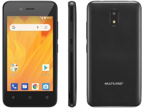 """Smartphone Multilaser MS40G 8GB Preto 3G - 512MB RAM 4"""" Câm. 5MP +  Câm. Selfie 2MP"""