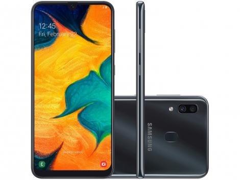 "Smartphone Samsung Galaxy A30 64GB Preto 4G - 4GB RAM 6,4"" Câm. Dupla + Câm. Selfie 16MP"