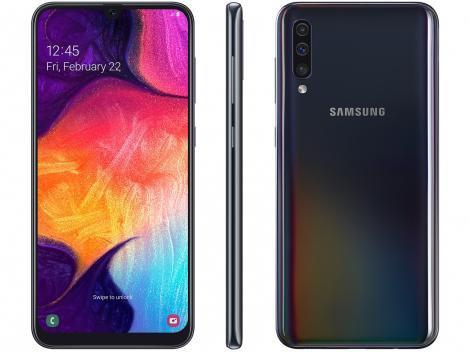 "Smartphone Samsung Galaxy A50 64GB Preto 4G - 4GB RAM 6,4"" Câm. Tripla + Câm. Selfie 25MP"