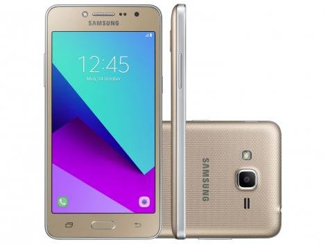 "Smartphone Samsung Galaxy J2 Prime TV 8GB Dourado - Dual Chip 4G Câm. 8MP + Selfie 5MP Tela 5"" qHD"