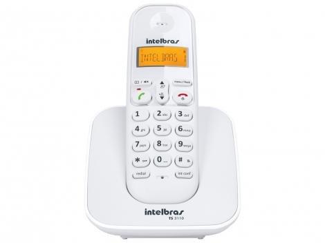 Telefone Sem Fio Intelbras TS 3110 - Identificador de Chamada Conferência Branco