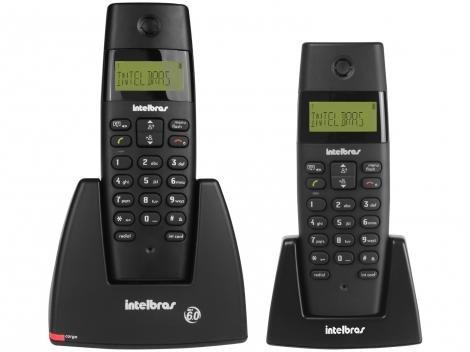 Telefone sem Fio Intelbras TS 40 C + Ramal - Identificador de Chamadas Sinalizador de LED Preto