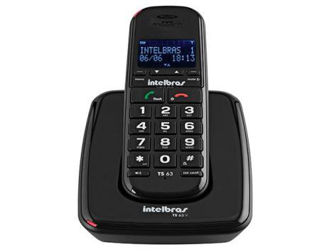Telefone Sem Fio Intelbras TS63 V - Identificador de Chamada Viva Voz Preto