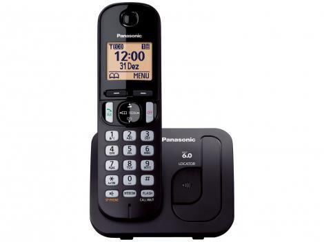 Telefone Sem Fio Panasonic KX-TGC210LBB  - Identificador de Chamada Viva Voz Preto