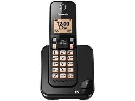 Telefone Sem Fio Panasonic KX-TGC350LBB  - Identificador de Chamada Viva Voz Preto