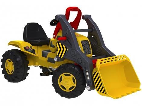 Trator Infantila Pedal Emite Sons - Trator Escavadeira Bandeirante