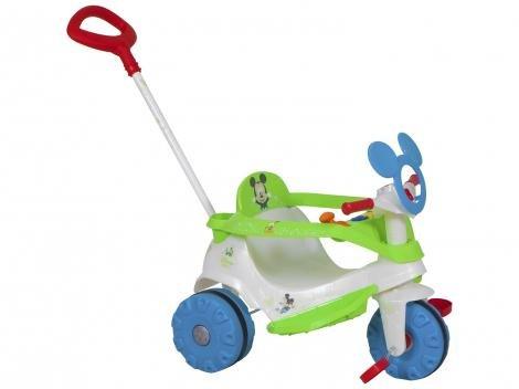 Triciclo Infantil Bandeirante com Empurrador - Velobaby Disney Mickey Haste Removível