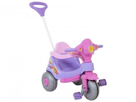 Triciclo Infantil Calesita com Empurrador Velocita - Haste Removível Buzina Porta Objetos