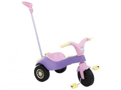Triciclo Infantil com Empurrador Homeplay  - Motoca Praia e Campo Lilás com Acessórios