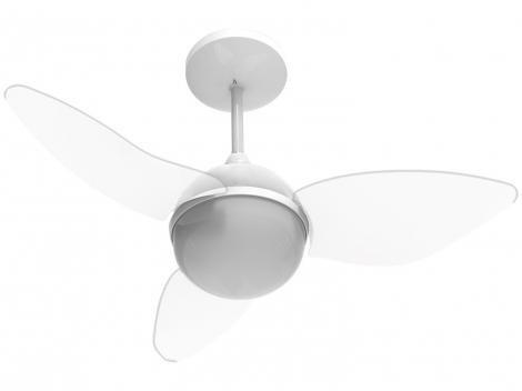 Ventilador de Teto com Controle Remoto Aliseu - Smart 3 Pás 3 Velocidades Cristal para 2 Lâmpadas